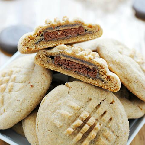 Tagalong-stuffed Peanut Butter Cookies   www.somethingswanky.com