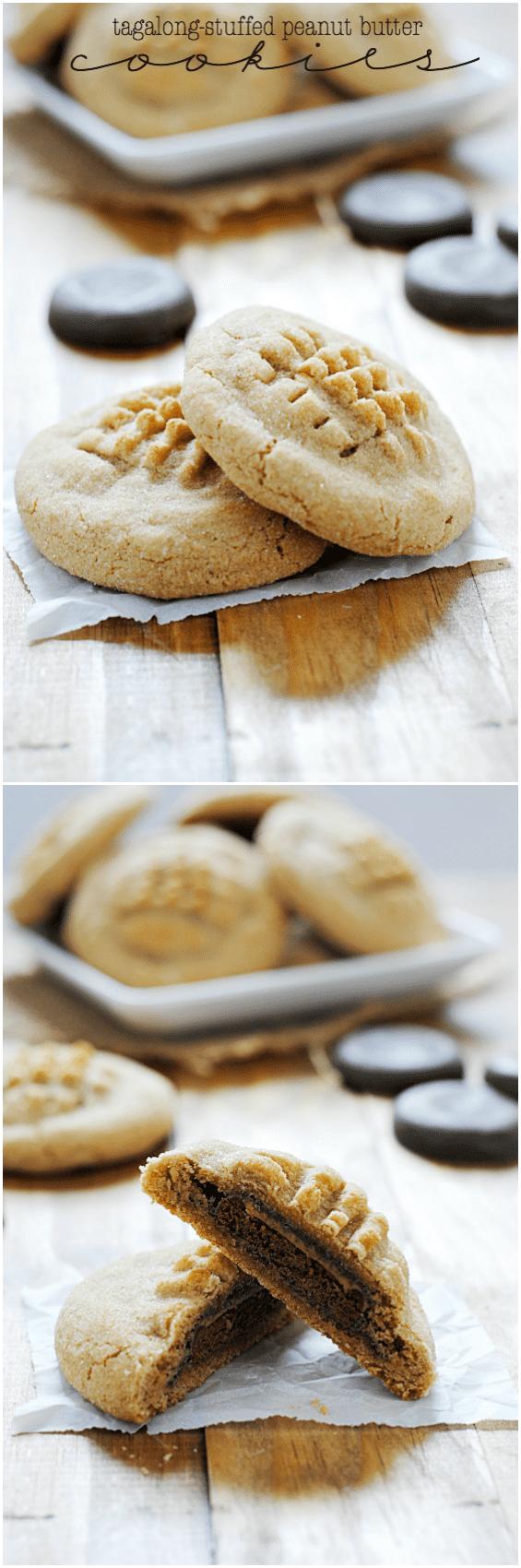 Tagalong-stuffed Peanut Butter Cookies | www.somethingswanky.com