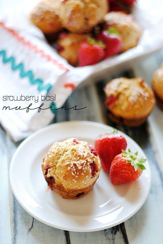Strawberry Basil Muffins | www.somethingswanky.com