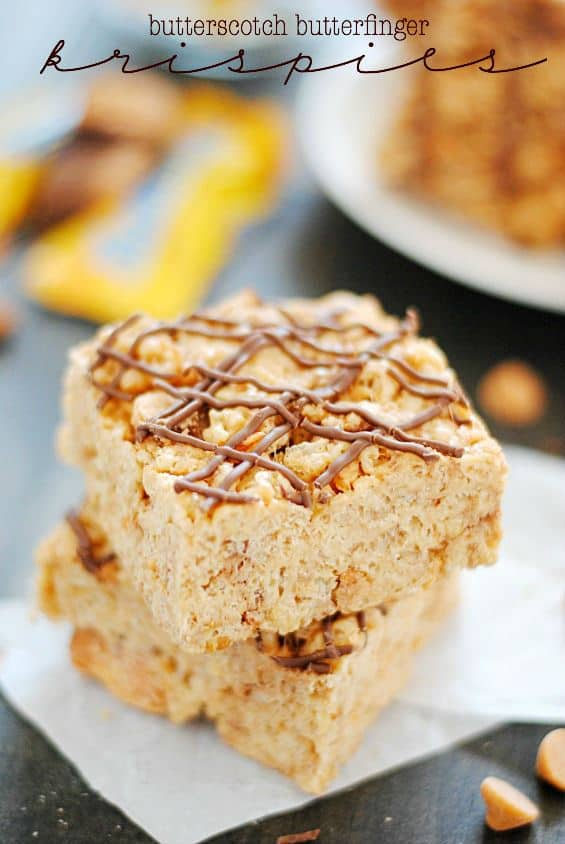 Butterscotch Butterfinger Rice Krispie Treats | www.somethingswanky.com