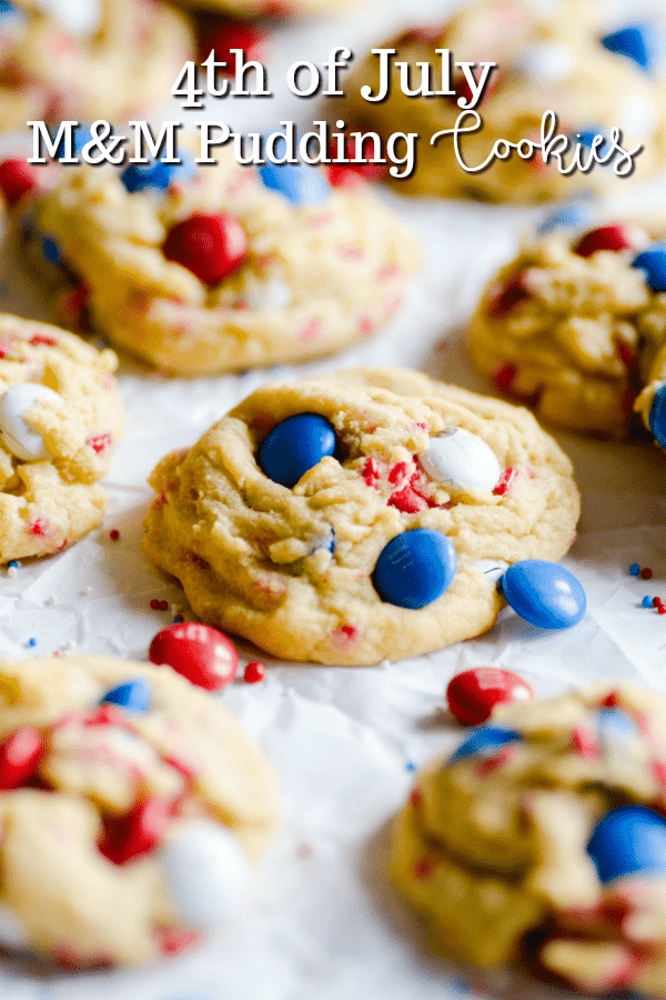 Thick and chewy M&M pudding cookies perfect for the 4th of July. This simple recipe really does make the most delicious chocolate chip cookies ever!