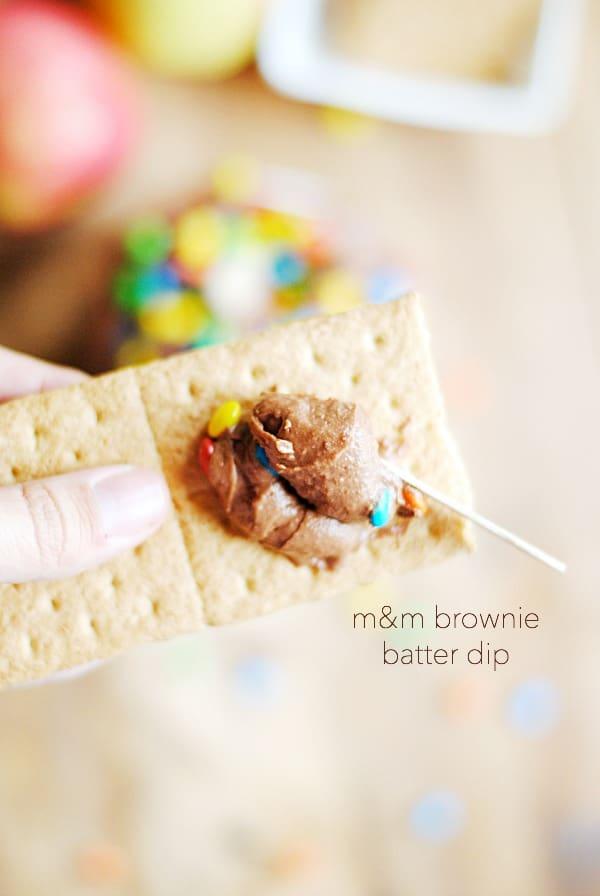 M&M Brownie Batter Dip | www.somethingswanky.com
