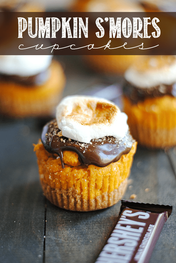 This Pumpkin S'mores Cupcake recipe is made with a graham cracker crust, an easy 3-ingredient pumpkin cupcake, a marshmallow cream filling, and topped with chocolate ganache and a toasted marshmallow.