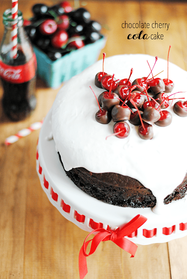 Chocolate Cherry Cola Cake | Recipe + super cute Cherry Coke Birthday party ideas! #getyourbettyon