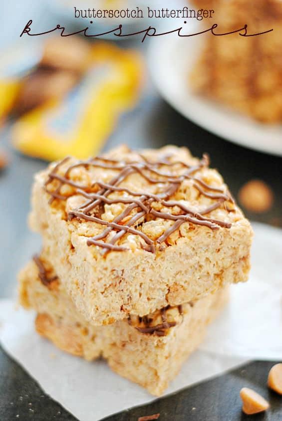 Butterscotch Butterfinger Krispie Treats