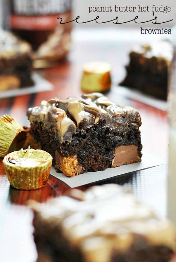 Hot Fudge Reese's Brownies