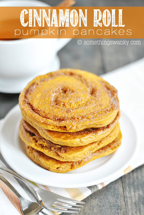 Buttery brown sugar and cinnamon swirled into fluffy pumpkin pancakes. Perfect for a yummy Fall breakfast!