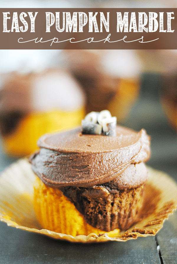 Easy Pumpkin Marble Cupcakes are incredibly simple to make (only three ingredients for the cake portion) and look so impressive. And the chocolate frosting is killer!!