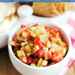 This fruit salsa is delicious and so easy to make. It's one of our favorites for game day snacking or for entertaining any time! #NachoFritoEntry
