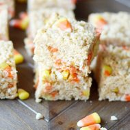 Peanut butter and candy corn are so yummy together. We love this recipe for PB Candy Corn rice krispies!