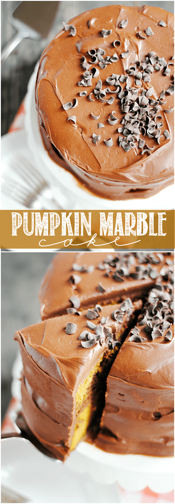 Pumpkin Marble Cake deliciously combines a dense, moist pumpkin cake with a rich decadent chocolate cake topped with the best chocolate frosting you've ever tasted!