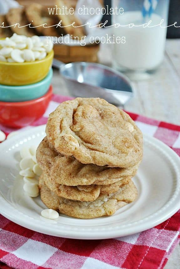 White Chocolate Snickerdoodle Pudding Cookies