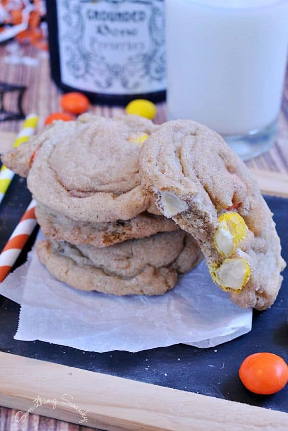 White Chocolate M&M Snickerdoodle Pudding Cookies