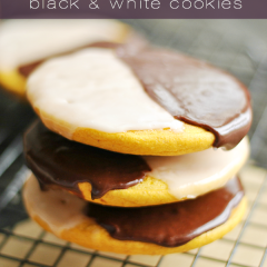 NYC-style Black & White Cookies; soft, cake-y cookies the size of your face with vanilla and chocolate icing on top.