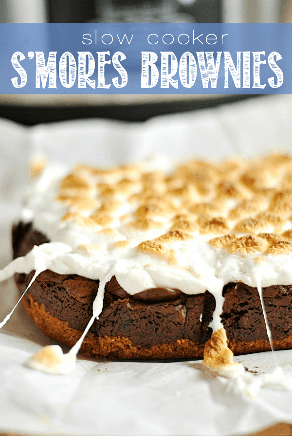 Let the slow cooker do all the work when it comes to making these ooey, gooey s'mores brownies!