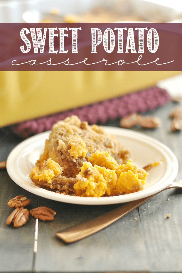 This is my grandmother's recipe for Sweet Potato Casserole, and it's perfect! I love the pecan, brown sugar, and coconut crumbly topping the best!
