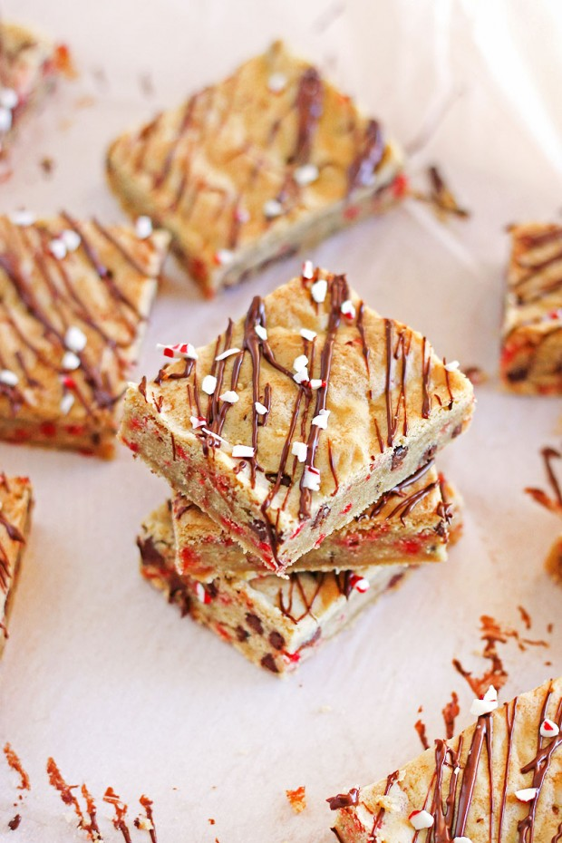 Soft chocolate chip cookie bars bursting with peppermint flavor and bits of crushed candy canes are a festive way to celebrate the season.
