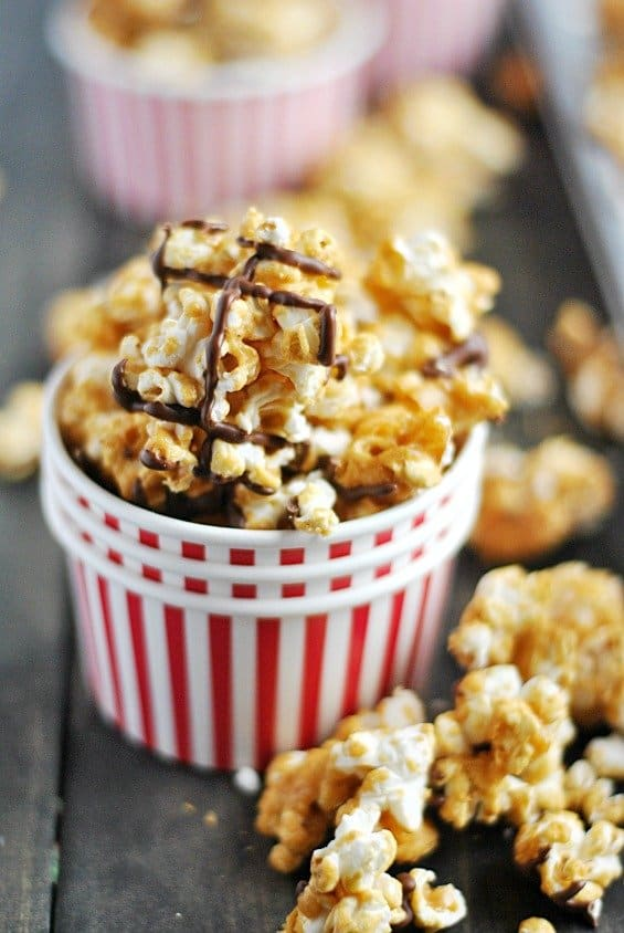 This caramel corn is so easy to make and is perfect for packaging and giving as a homemade gift!