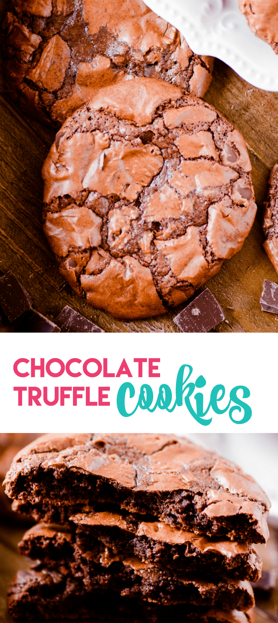Chocolate cookies with a soft fudgy middle, chewy edges, and a crackly brownie-like top.