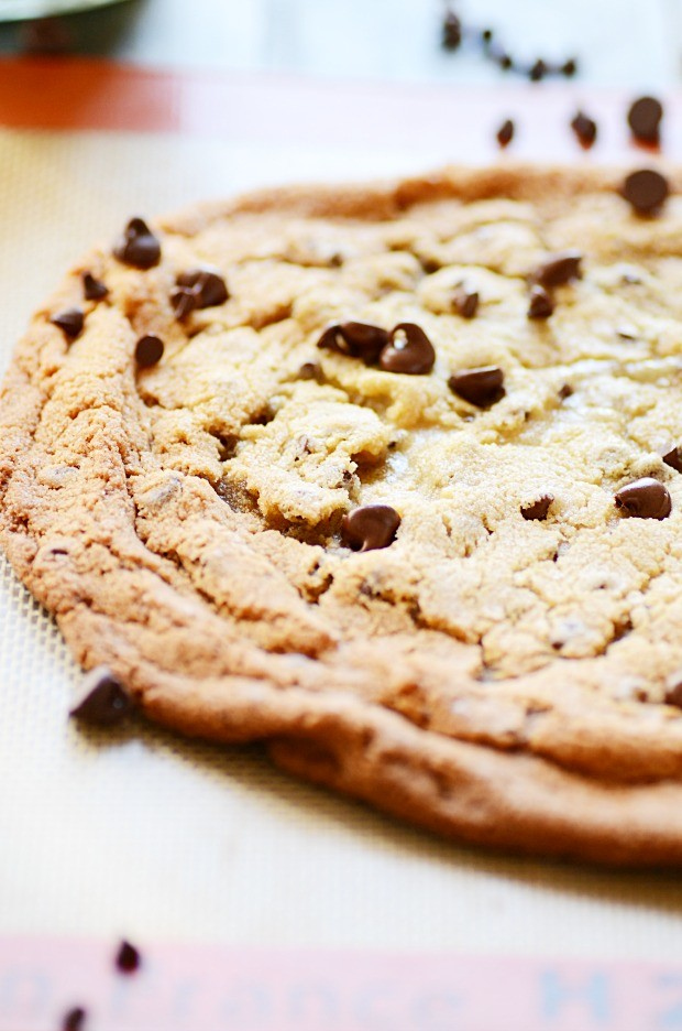 This Extra Large Chocolate Chip Cookie for one (or maybe two) is super chewy in the middle and buttery crispy around the edges.