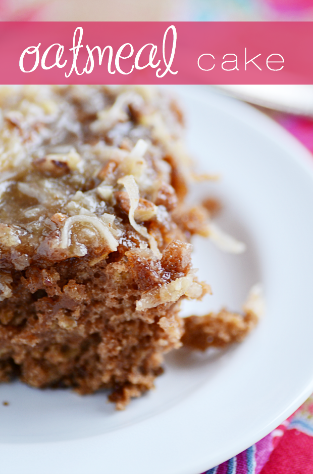 This Oatmeal Cake is serious comfort food. Something about that caramel coconut pecan topping soaking into the warm cake is just so irresistible!