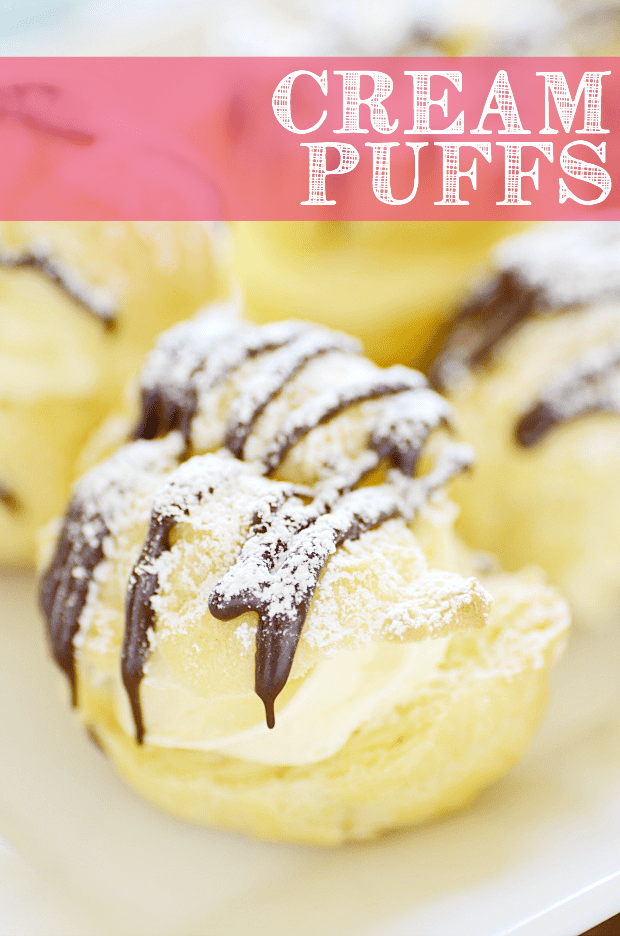 Cream Puffs are so easy to make at home and are so much better fresh than anything you could buy at the store or in the frozen section!