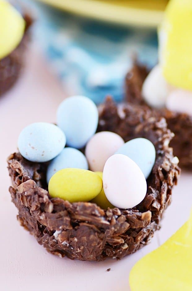 Chocolate Coconut Almond Easter Egg Nests - Something Swanky