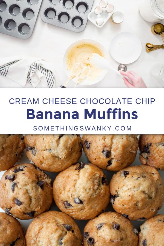 Cream Cheese Banana Chocolate Chip Muffins