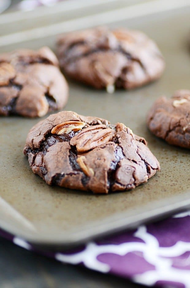 Brownie cookies stuffed with ooey, gooey caramel and pecans