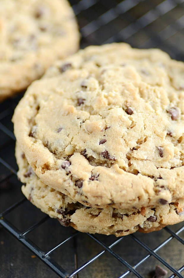 These perfect chocolate chip oatmeal cookies have crisp, buttery edges and soft, chewy centers.