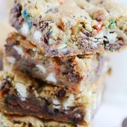 Funfetti Triple Chocolate Chip Cookie Bars