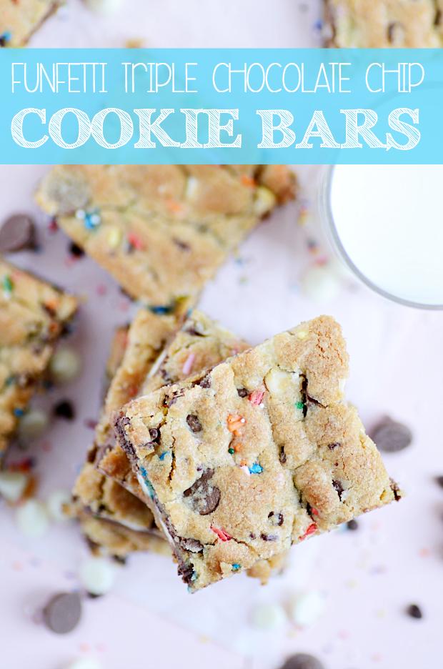 Funfetti Triple Chocolate Chip Cookie Bars