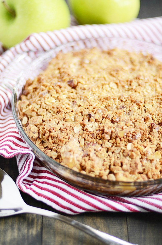 This is the very best Apple Crisp recipe of all time. There's a secret ingredient in the topping that keeps it extra crispy!!