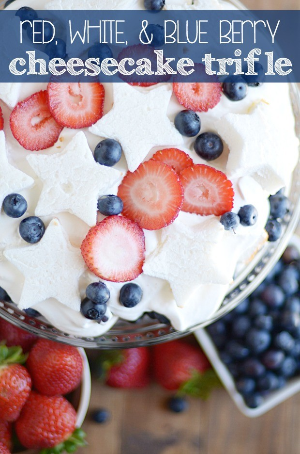 Red, White and Blue delicious layers of angel food cake, fresh berries, and no bake cheesecake. This easy dessert comes together quickly and is so creamy and delicious!