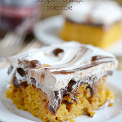 Hot Fudge Pumpkin Poke Cake
