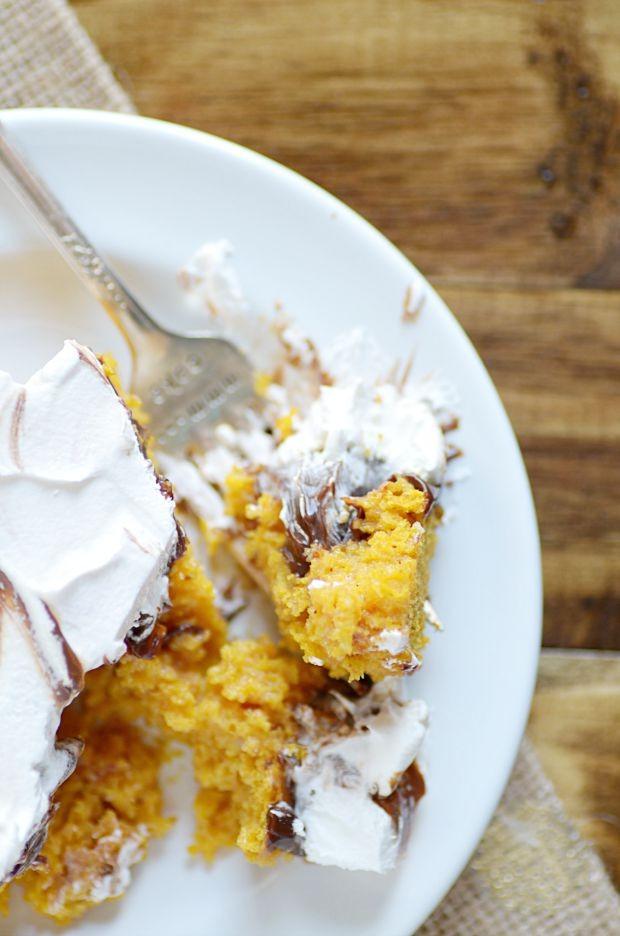 Hot Fudge Pumpkin Poke Cake