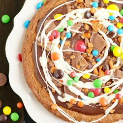 Candy Cookie Pie with Reese's Cups, Butterfinger, and M&Ms