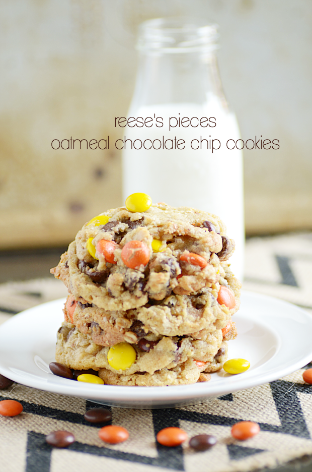 Reese's Pieces Oatmeal Chocolate Chip Cookies