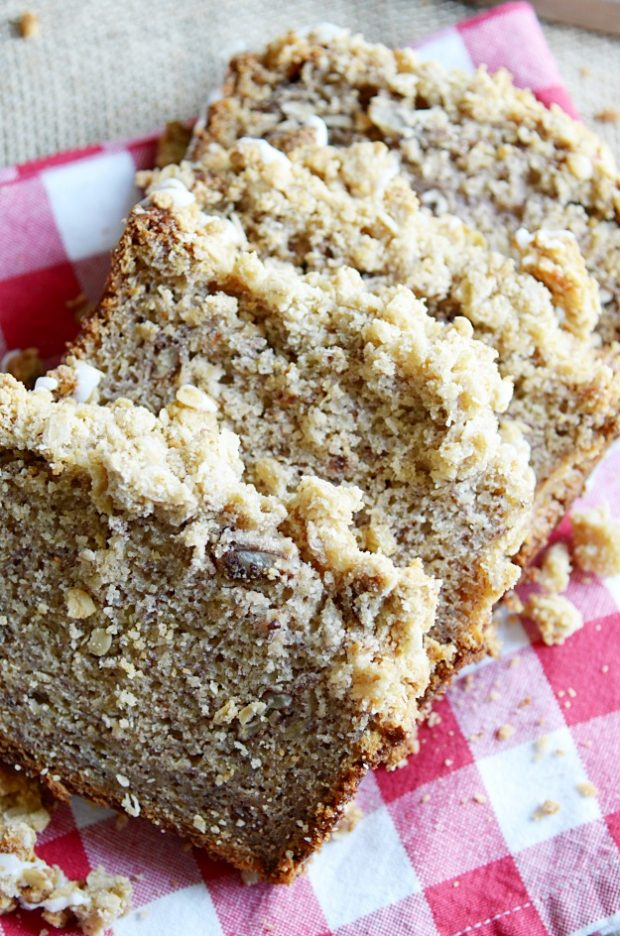 My favorite banana bread with a double batch of cinnamon streusel and icing on top. You won't want to eat banana bread any other way again!