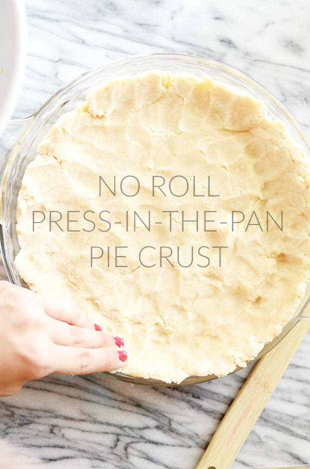 This is the easiest pie crust ever! No rolling, just press the dough into the pie pan.