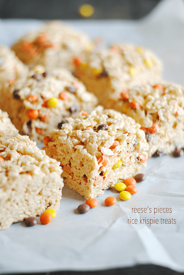 Reese's Pieces Rice Krispies Treats