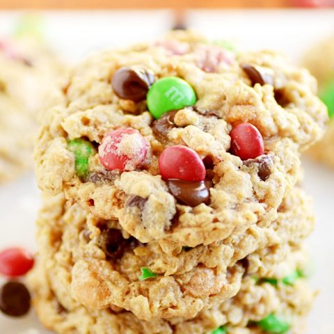 Hearty peanut butter and oat cookies loaded with M&M's and chocolate chips