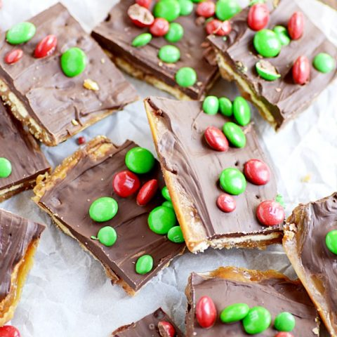 Easy Saltine Toffee Recipe with M&Ms