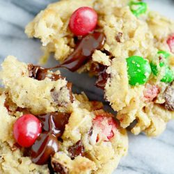 Cowboy Cookies (oatmeal cookies with pecans, coconut, chocolate chips, and M&Ms)