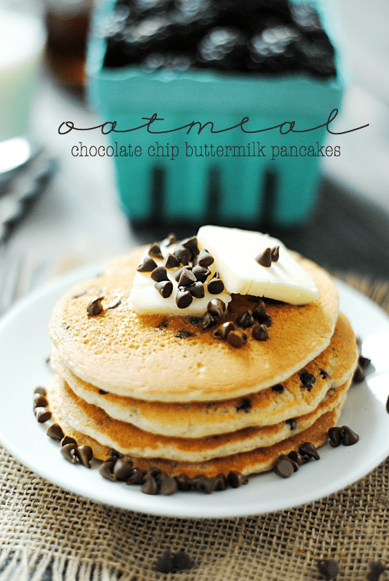 Oatmeal Chocolate Chip Buttermilk Pancakes
