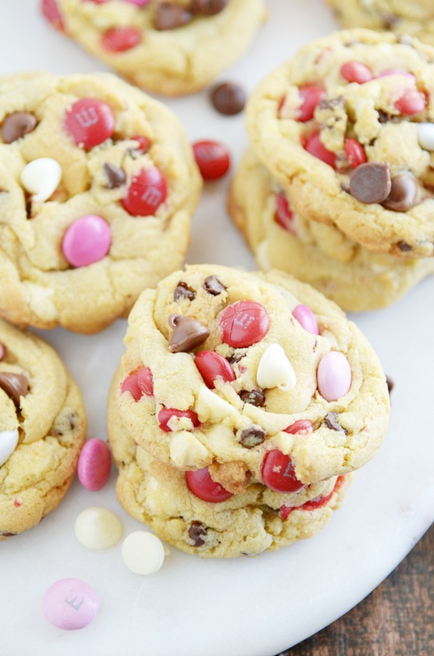These Soft Batch M&M Chocolate Chip Pudding Cookies are packed with white chocolate chips, chocolate chips, and M&Ms.