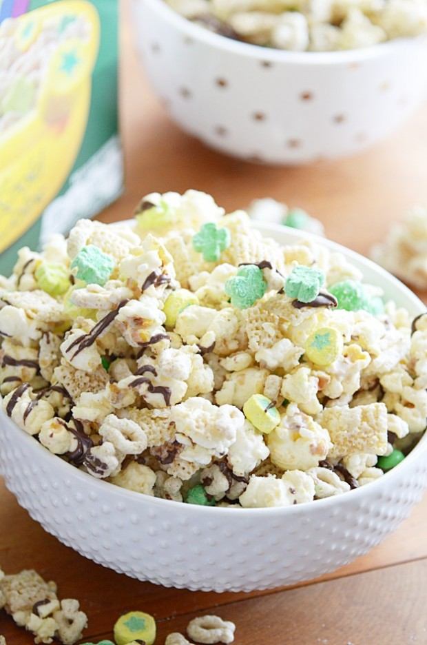 Sweet and crunchy with Lucky Charms, green M&MS, Kettle Corn, and Chex cereal all coated in white chocolate and a dark chocolate drizzle.