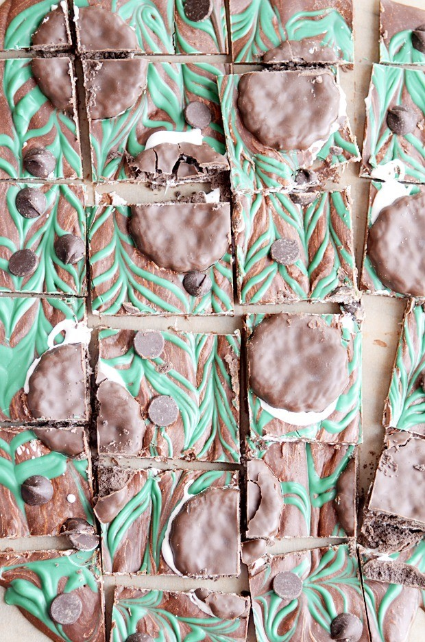Easy chocolate bark filled with marshmallow cream swirls and Thin Mint cookies.