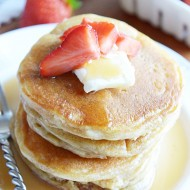 Fluffy buttermilk pancake recipe from scratch that are so easy to make, you'll never be tempted to buy a mix again!