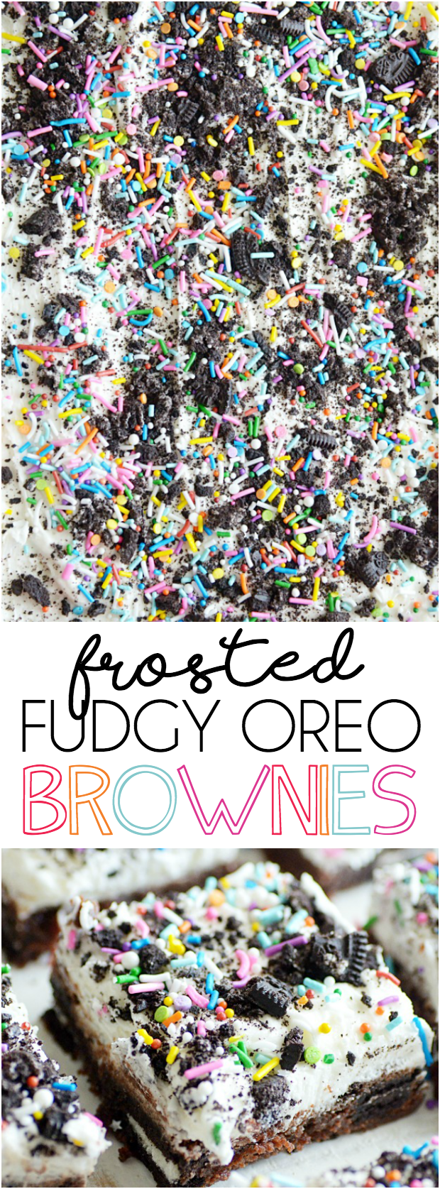Super rich and fudgy brownies stuffed with Oreos and smothered in vanilla buttercream.